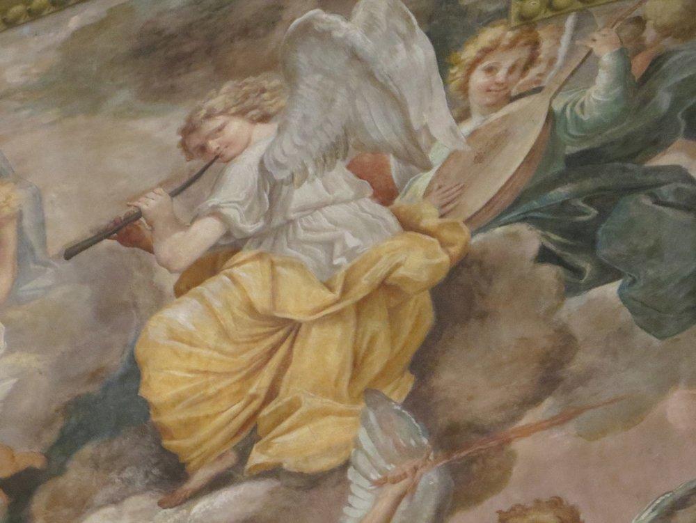 Angel on a fresco in the cappella di S. Antonio di Padova in San Petronio, Bologna.