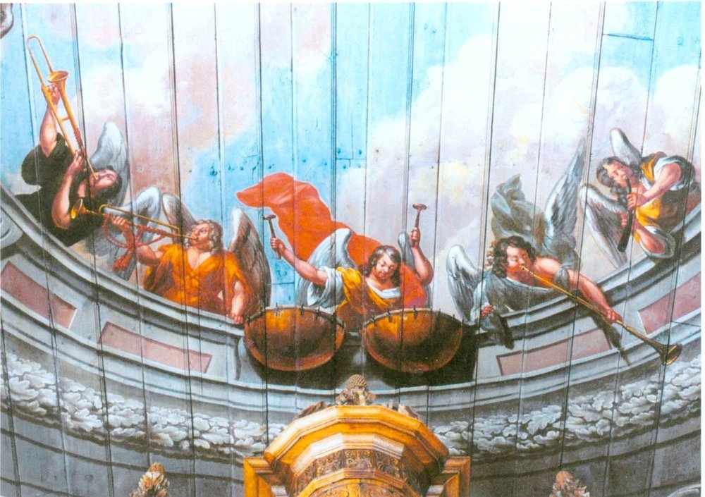 Painted wooden ceiling in the St.-Laurentius-Kirche in Tönning (aug der Halbinsel Eiderstedt). Die painting is by Barthold Conrath from Hamburg, painted in 1704 and restored in 1961.