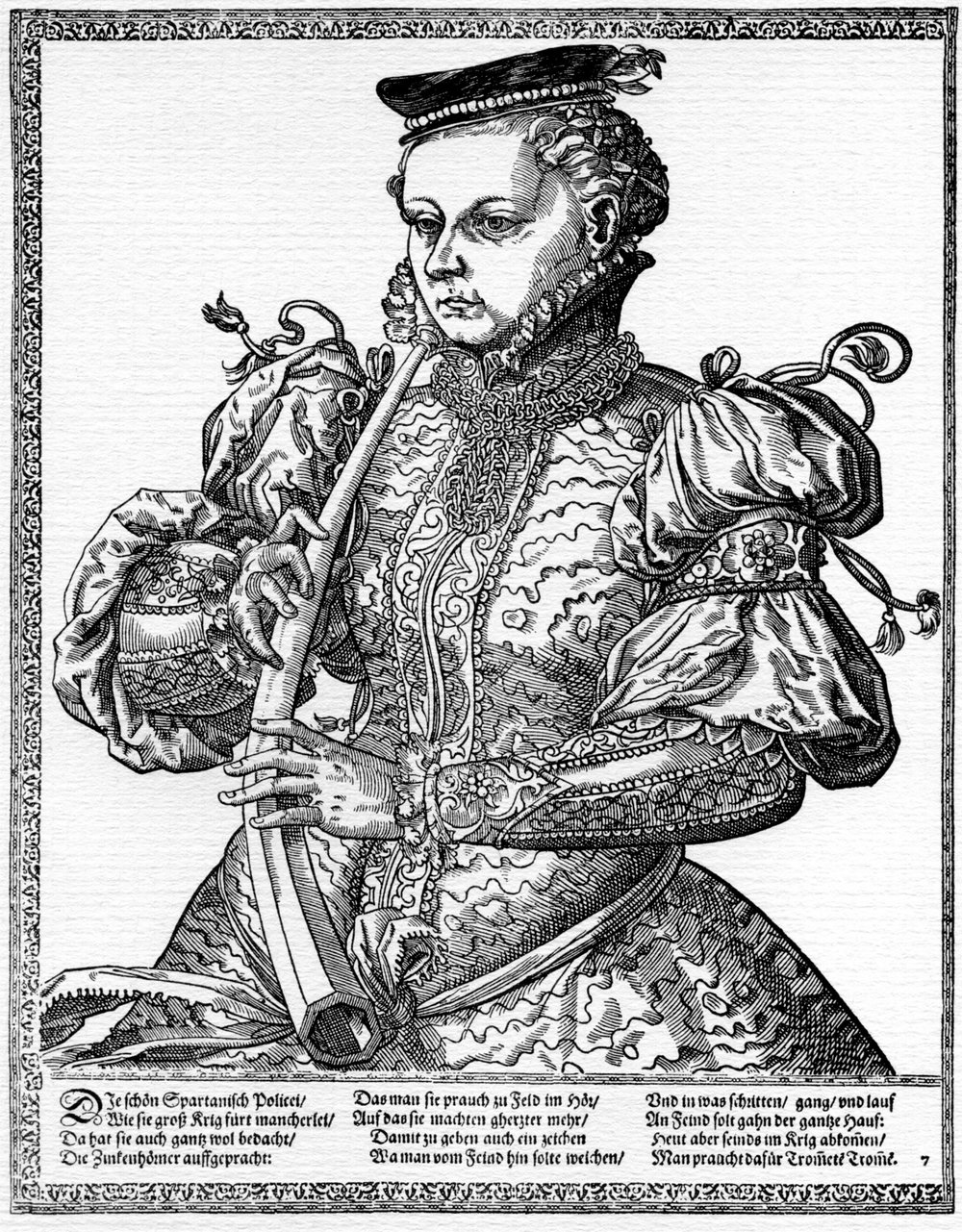 Tobias Stimmer (1539-1584)Woodcut from a book of portraits of well-dressed women playing instruments, 1570s.