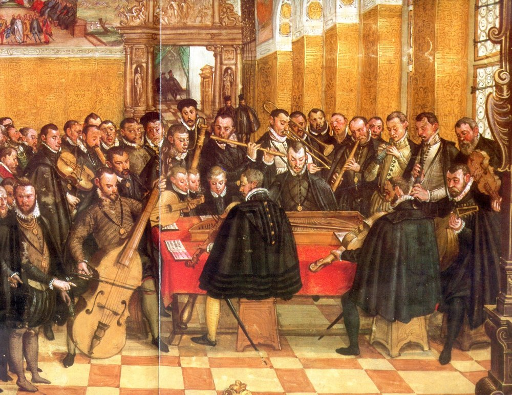 Hans Mielich - Book illustration (1560-71) of concert in the St. Georgs-Saal of the Neuveste with the Munich Hofkapelle.
