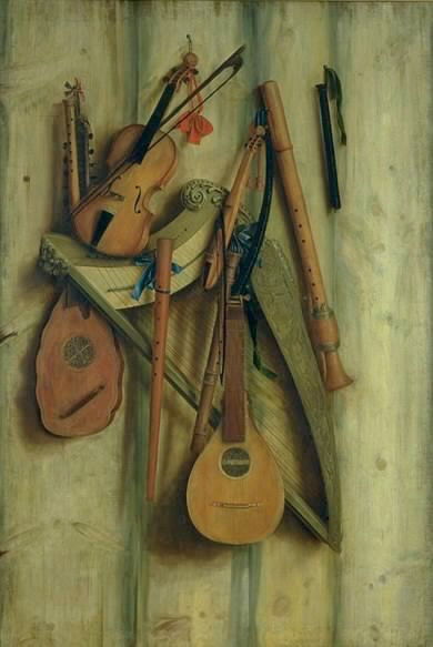 Franciscus Gijsbrechts, Board Partition with Musical Instruments. Trompe l'oeil. 1672.