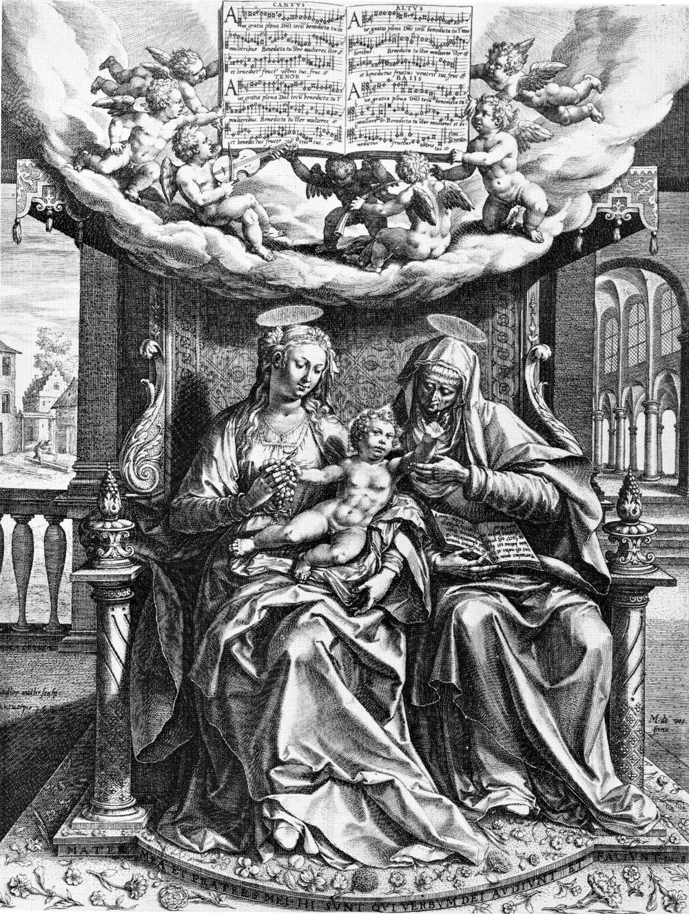 Engraving by Martijn de Vos and Jan Sadeleer S. Anne, Our Lady and Child