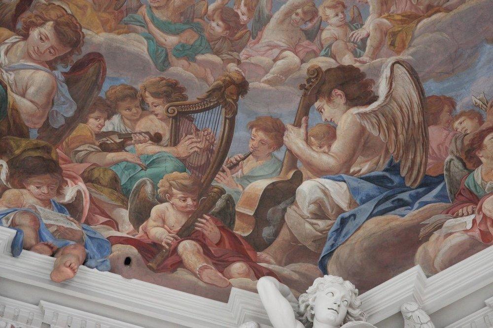 Trompe l'oeil, fresco, Carpoforo Tencala (1623-1685). Detail.