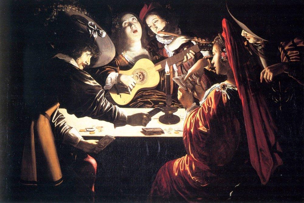 Rutilio Manetti (Siena 1571-1639). Giocatori e suonatori a lume di candela.