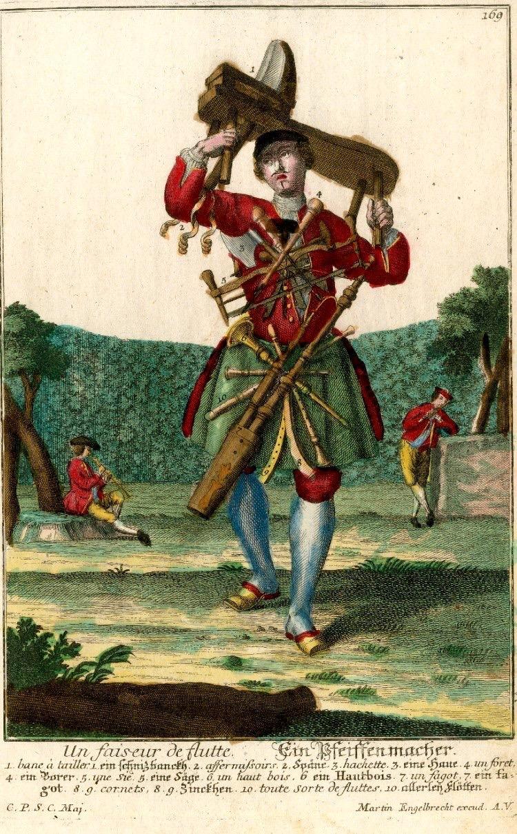 Assemblage nouveau des manouvries habilles: Female Pipemaker (ca 1730-1740), etching & engraving, Martin Englebrecht (1684-1756).