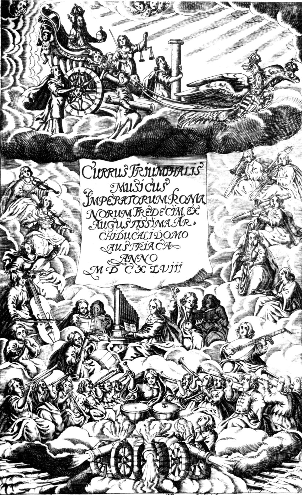 Title page from Currus Triumphalia of Andreas Rauch, 1648. Engraving by Michael Frommer.