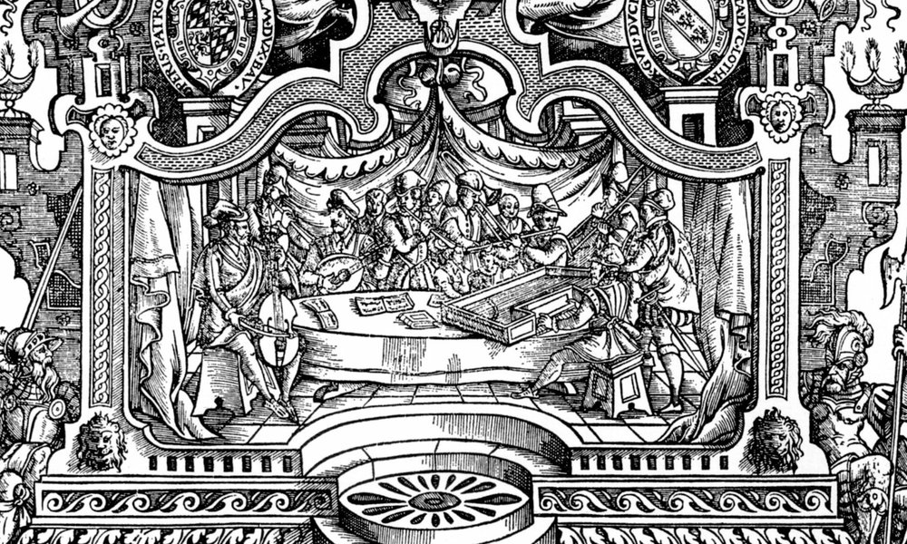 Title page from the Patrocinium musices, 1589, a 12 volume collection including works of Orlando di Lasso. Woodcut by Johannes Nel. Detail