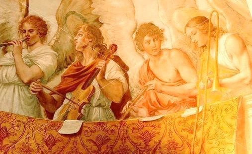 Guido Reni, 1575-1642 Detail of angel musicians on apse of Oratorio di Santa Silvia, San Gregorio Magno, Rome.