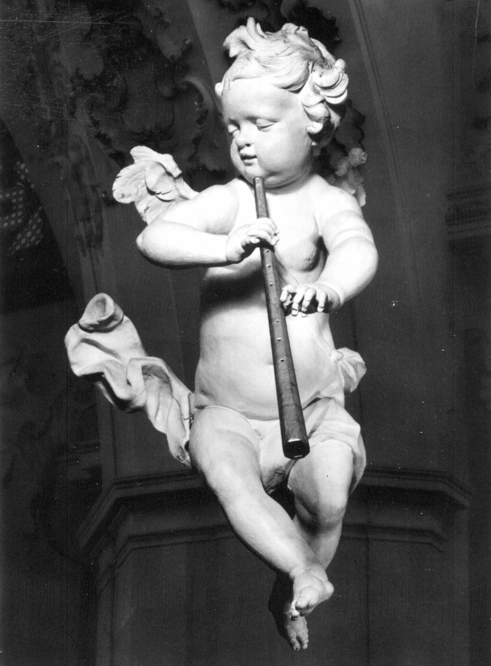Putto cornettist by F. X. Schmädl (1744) in Stiftskirche Rottenbuch.