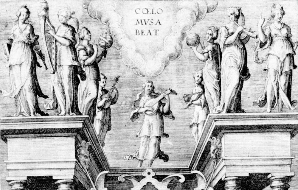 Detail of title page of the Institution harmonique of Salomon de Caus, Frankfurt, 1615.