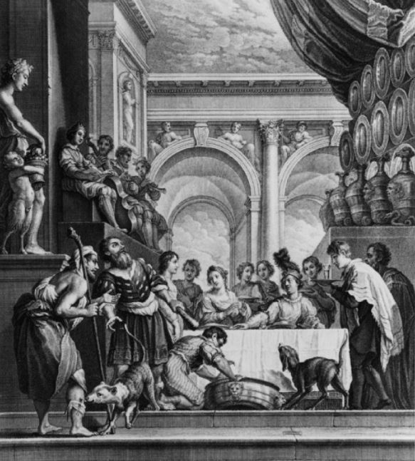 Jean-Baptiste Haussard, 1679-1749 Der reiche Prasser, Stich nach Domenico Fetti.
