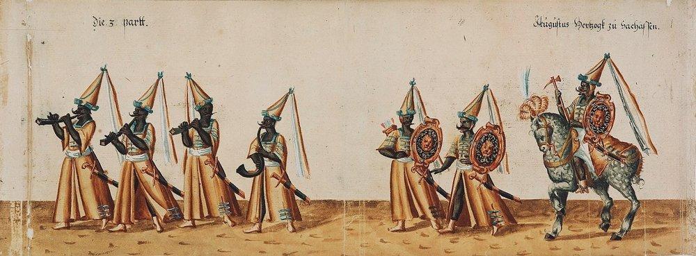 """Ringrennen Christian II. (""""Eigengliche abkondrafagttur des Rinckrennen ... auff den Nauen stal renbanen an fastnacht Anno 1607. den 24. 25. und 26. Februarius"""")."""