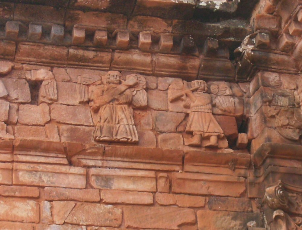 Angel musicians on a Jesuit reduction in San Ignacio, Paraguay