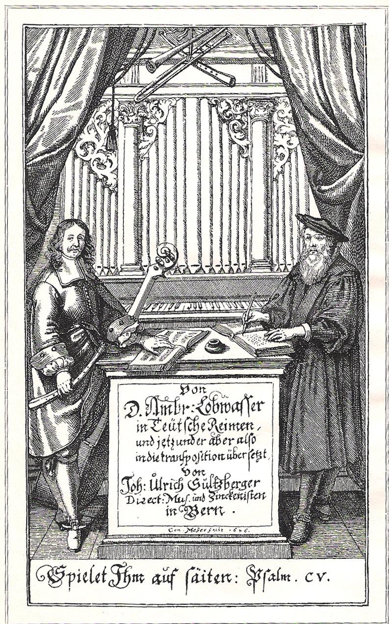 Title page of Ulrich Sultzberger, Von D. Ambr: Lobwasser in Teütsche Reimen, und jetzt under aber also indie transporsition übersetzt, 1675. (Book of transposed Psalm settings.)