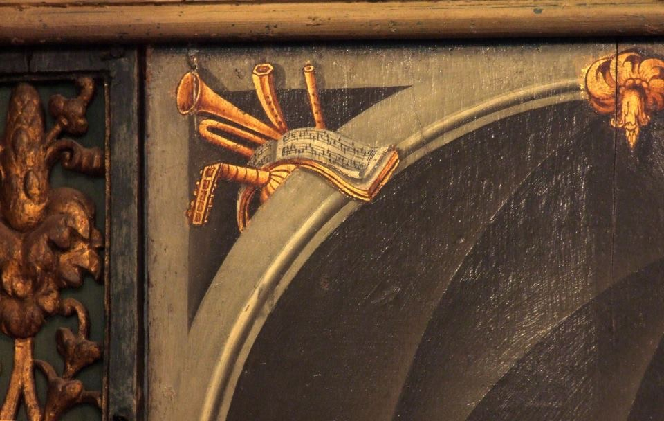 Decoration on an organ case from 1643 at Manders Organs, London
