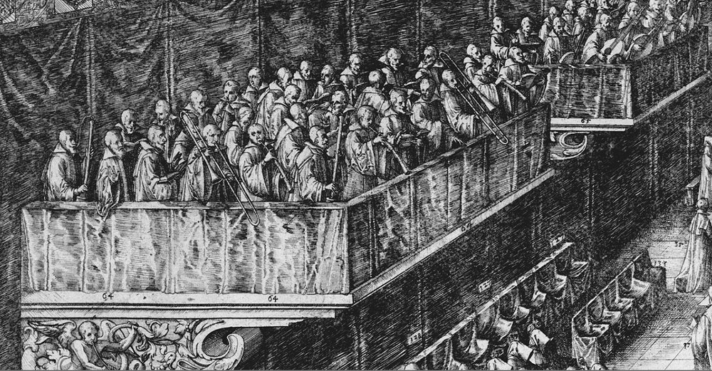 detail from an engraving by Friedrich Brentel, showing the funeral service of Duke Charles III, in Nancy, 1608. Cornetts, trombones and dulcians are visible