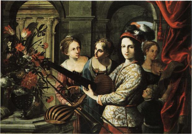 'Gruppo di giovani suonatori con vaso di fiori', c.1625 and thought to be by Pietro Paolini