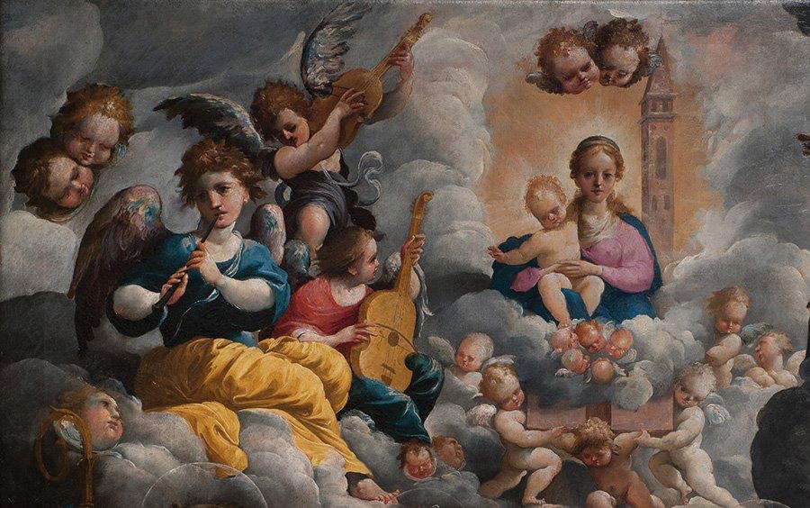 """Detail of """"Santi Bonaventura, Agata, Lucia e Biagio e la Madonna di Loreto fra angeli musicanti"""", 1603, Annibale Castelli, in Mirandola (MO)"""