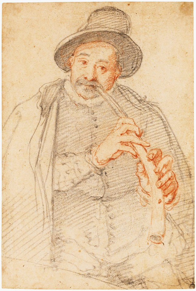 "Federico Zuccaro, ""Man playing a horn"", ca. 1576-77. Drawing in black and red, 235 x 159 mm. Sold at Sotheby's (New York 2015)."