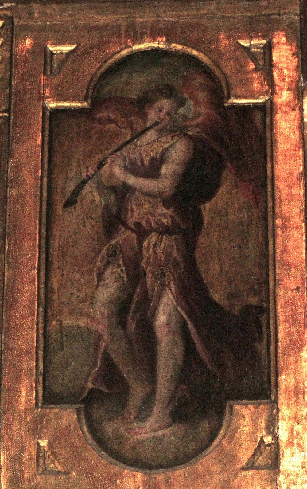 Decoration on the organ cantoria of the Chiesa dei Celestini in Bologna.