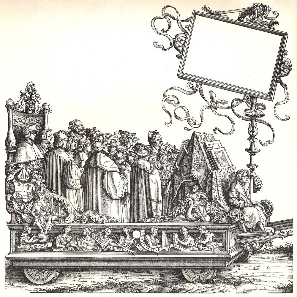 Augustein Schubinger in performance: Woodcut by Hans Burgkmair (1473-1531) from the Triumphzug des Kaisers Maximilian I, 1516-1518.