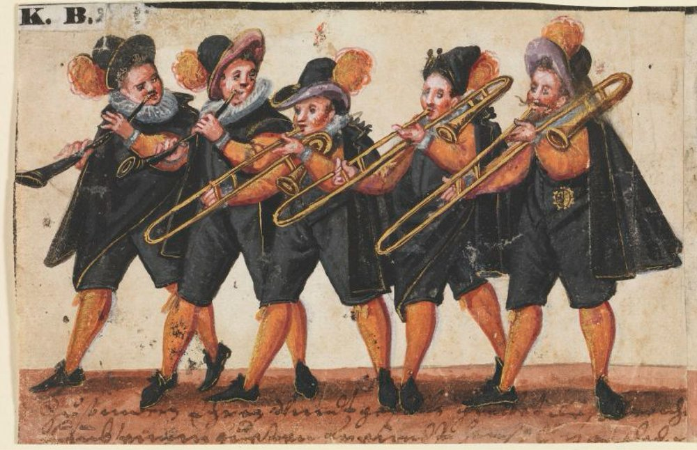Anon, musicians in wedding procession, 1586/1600.