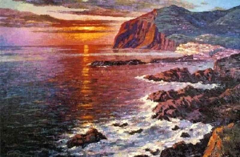 Landscape of Câmara dos Lobos, Madeira, Portugal, 1950. Oil on canvas.