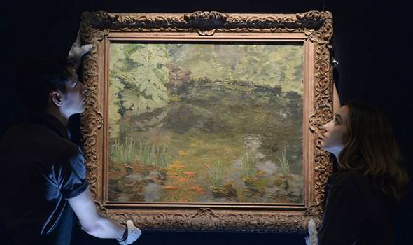 The Goldfish pool at Chartwell painting by Churchill was auctioned by Sotheby's for $1.76 million.