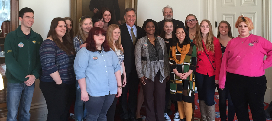 Steve pictured with Bennington County Teens 4 Change and Gov. Shumlin