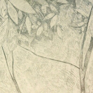 In the Pawpaw Patch, detail of Intaglio with Aquatint and Chine Colle