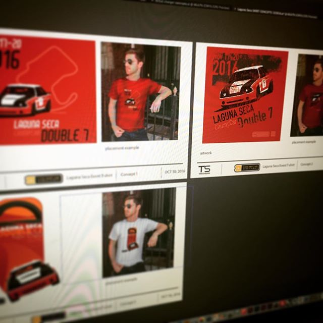 Working on another set of @chump_car race #tshirts Very excited to be doing the #lagunaseca double/double 7 #racing #chumpcar #trackswag #raceinspired #corkscrew