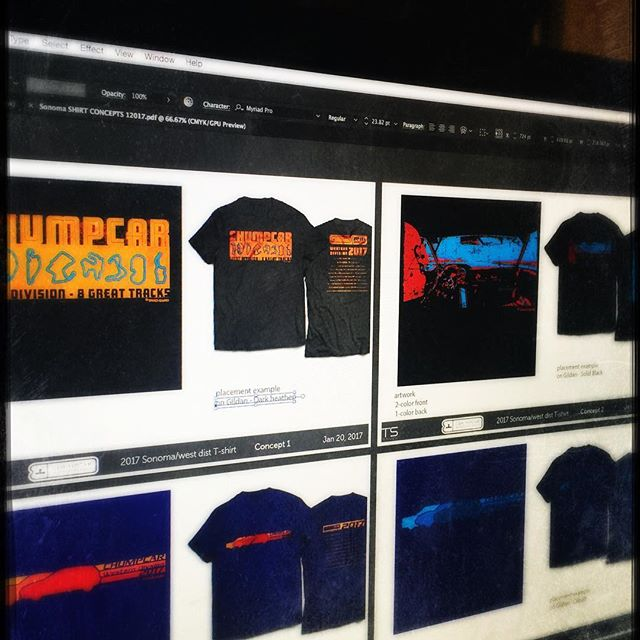 Trackswag has been selected by @chumpcarworldseries to design 14 of the 2017 event shirts. This is a sneak peek at some concepts for west coast events. #trackswag #raceinspired #westcoast #racing