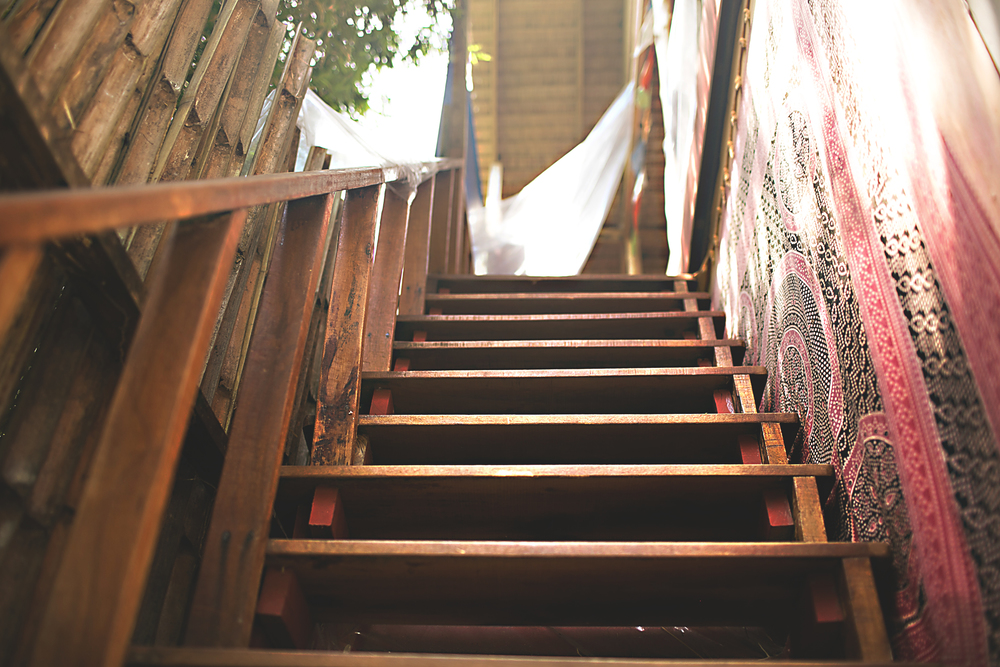 The stairs to to the yoga shala practice space. Koh Lanta, Thailand 2015