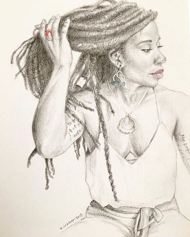 Look at this amazing drawing by @altavistastudio of @mis_liberation wearing a the Large Maha Necklace and Earrings and the Vishu Ring!! 😍 Original photo by @janettecasolary