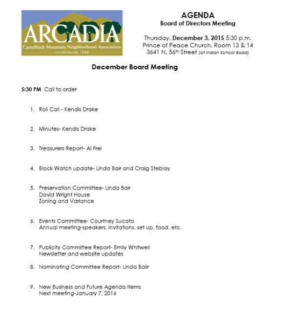 Click for Next Meetings Agenda