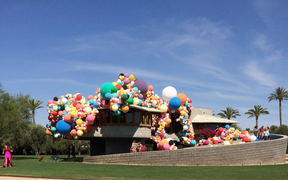 June 8, 2017 is the 150th birthday of of Frank Lloyd Wright.  Fittingly, the iconic house was lavishly decorated with thousands of balloons for the press conference where the owner, Zach Rawling announced that he is giving the David and Gladys Wright House to the  School of Architecture at Taliesin .