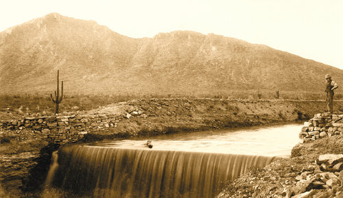 In 1884, the Arizona Falls was created when the canal excavators ran into a massive, impregnable slab of granite near what is now known as 56th Street and Indian School Road.  PHOTO: ARIZONA FALLS C. 1890. REPRINTED FROM ARCADIA NEWS, NOV. 2011.   Click here to see today's view of the Arizona Falls