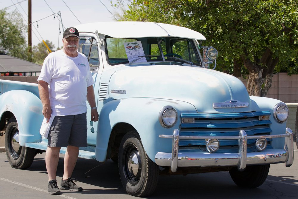 "ACMNA President Craig Steblay and ""Old Blu"" a 1951 Chevy survivor truck"