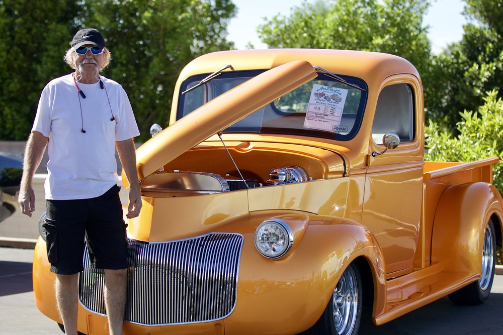 "Edward Vara and his 1946 Chevy Pickup has a 350 Cubic Inch crate engine, 350 Turbo trans, Tangelo Pearl paint, a 9"" Ford rear,"