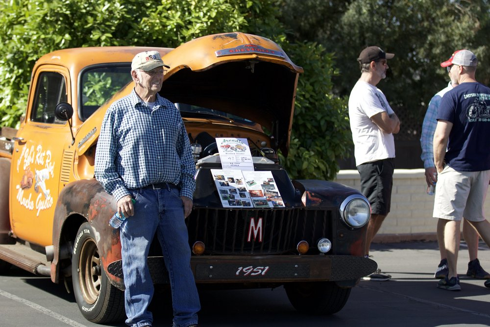 "Bob Mason with his 1951 Chevy Pickup ""rat-rod"""