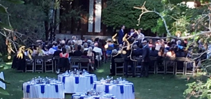 This photo of a Sept. 30, 2017, wedding at the Frank Lloyd Wright estate in Orinda was taken by a neighbor of the residential neighborhood. (City of Orinda)