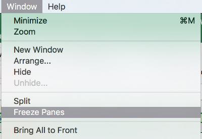 Go to window > Freeze Panes