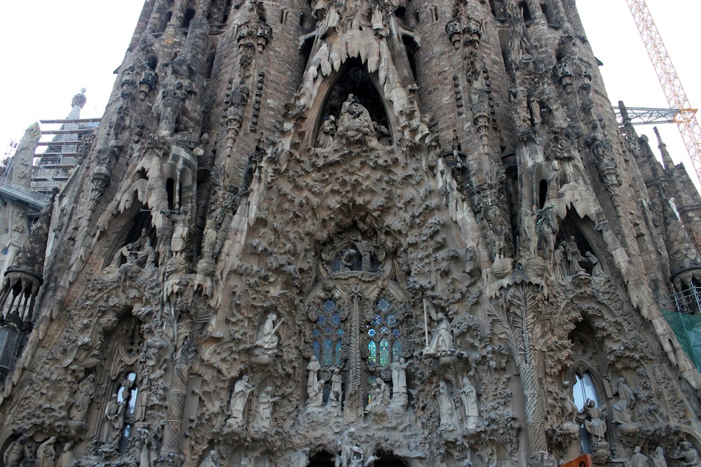 Facade of the entrance to the Sagrada Familia