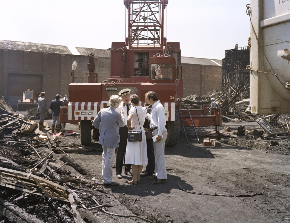 Fire Captain Andy Casper being interviewed after the July 10th five-alarm fire on Folsom Street, 1981 Archival Pigment Print, 2016 16 x 20 inches, edition of 5 20 x 24 inches, edition of 2 30 x 40 inches, edition of 2