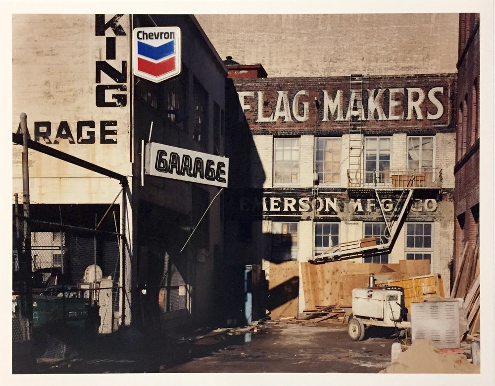 Flag Makers, Natoma at 3rd Street, 1982 Vintage Chromogenic Print 11 x 14 inches and 14 x 17 inches