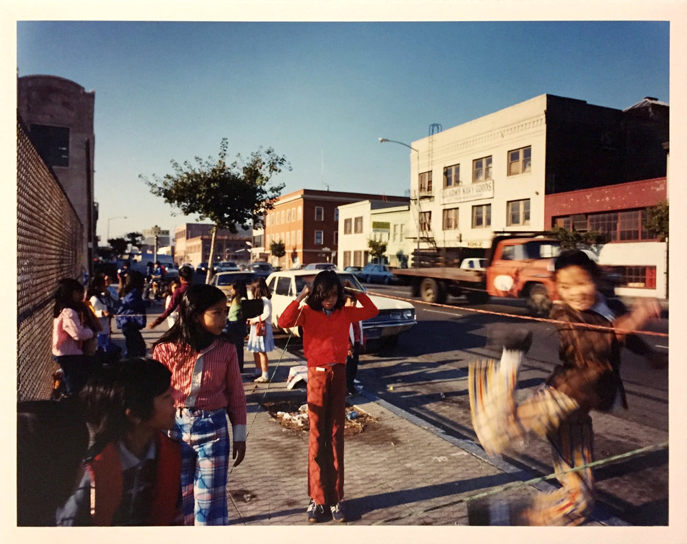 Chinese jumprope in front of Bessie Carmichael School, Folsom Street, 1980 Vintage Chromogenic Print 11 x 14 inches, 14 x 17 inches and 16 x 20 inches
