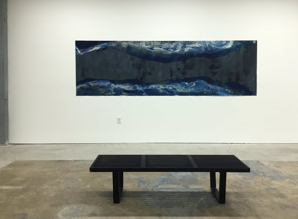 MEGHANN RIEPENHOFF  Littoral Drift #204  (Fletcher Bay Road End, Bainbridge Island, WA 03.05.2015, Five Waves, Poured and Ridged) Unique dynamic cyanotype 42 x 140 in.