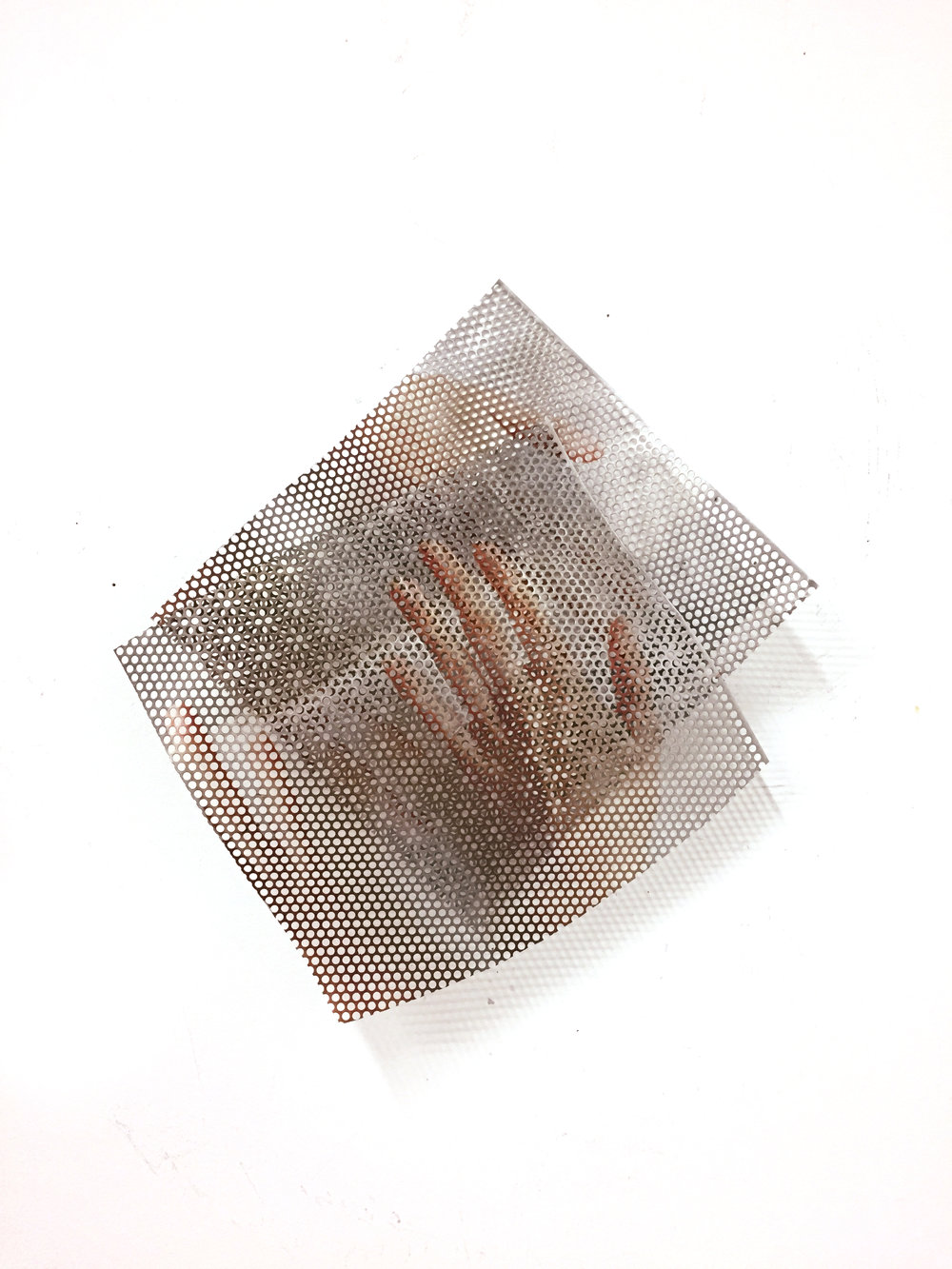 JACQUELINE SHERLOCK NORHEIM  Slip, 2017  Acrylic ink on aluminum, nail  14 x 20 inches