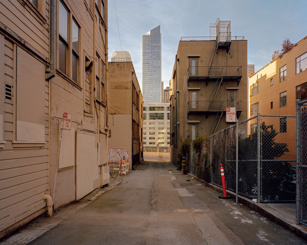 Millenium Tower from Zeno Alley    from  SoMA Now (2011 - ongoing)   Archival Pigment Print  Available sizes 16 x 20 inches, edition of 5 20 x 24 inches, edition of 2 30 x 40 inches, edition of 2