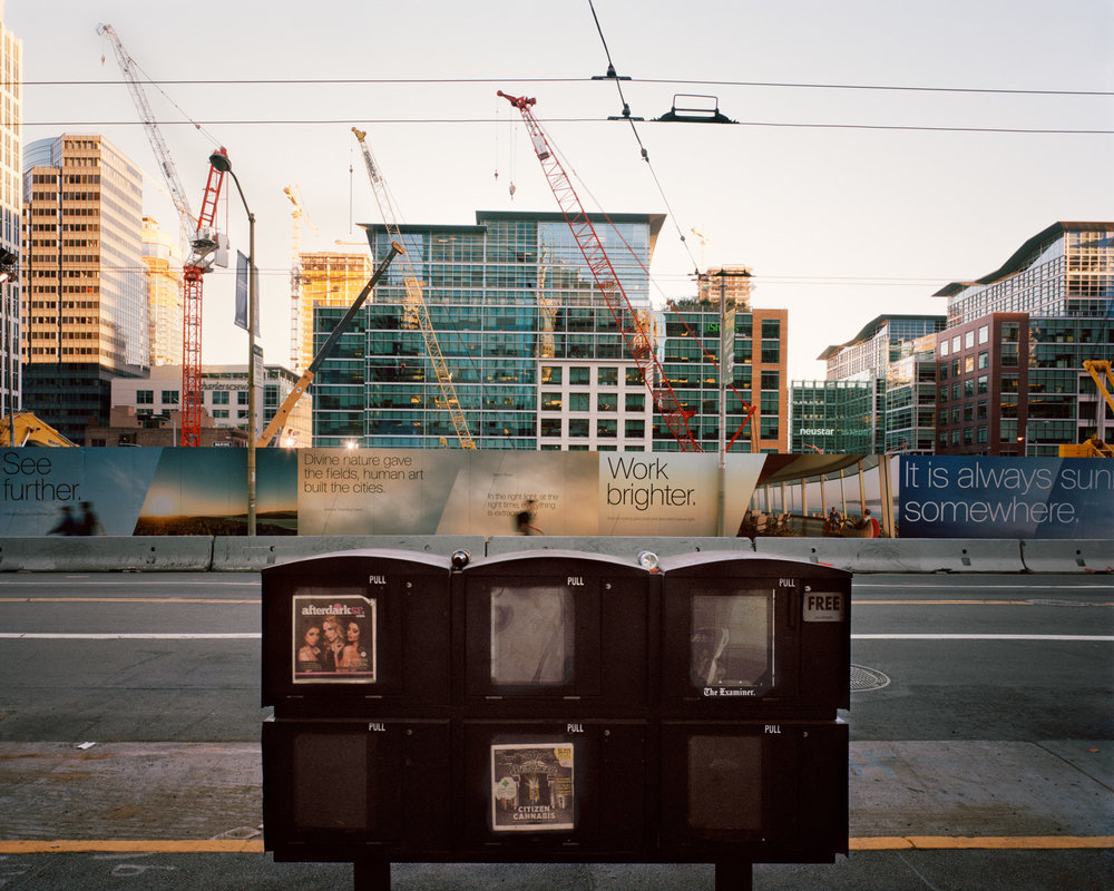 See Further, Transbay Terminal Construction Site, Mission Street,  2015   from  SoMA Now (2011 - ongoing)   Archival Pigment Print  Available sizes 16 x 20 inches, edition of 5 20 x 24 inches, edition of 2 30 x 40 inches, edition of 2